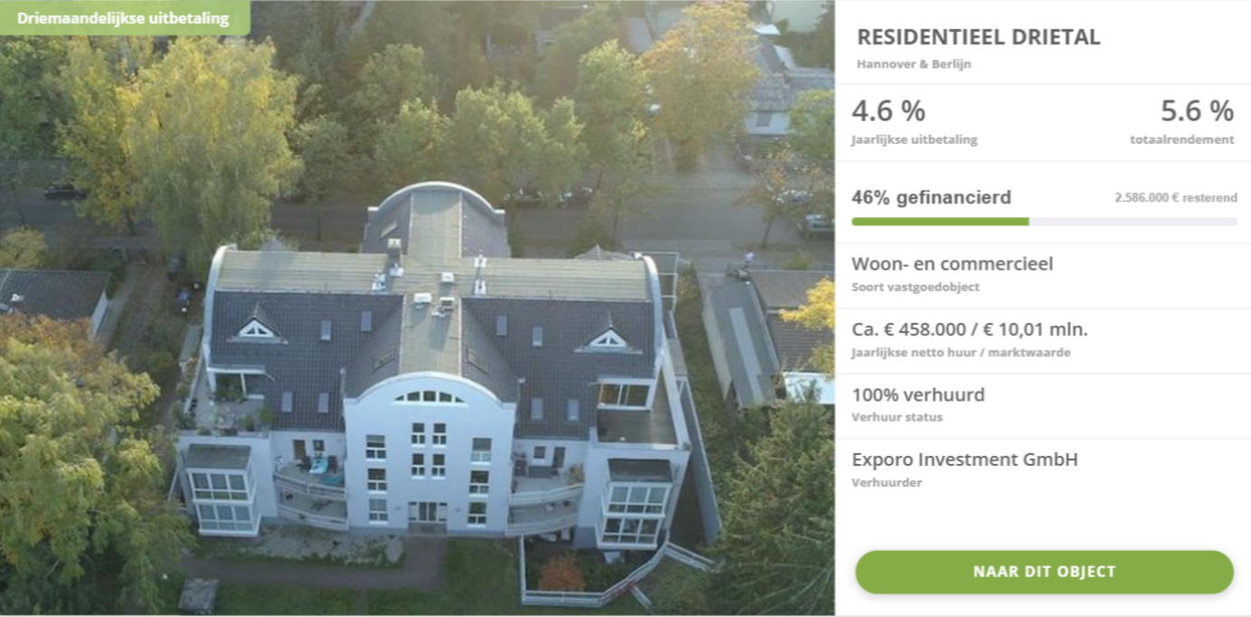 Particulier beleggen in vastgoed via Exporo